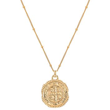 Saint Benedict Coin Pendant Necklace Gold-Filled