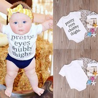 Newborn Infant Baby Boy Girl Short Sleeve Cotton Letter Print Casual Rompers Jumpsuit Outfit