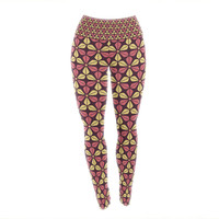 "Nick Atkinson ""Infinite Flowers Red"" Yoga Leggings"