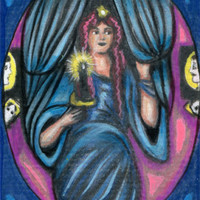 original aceo art fortune teller woman psychic candle Halloween gypsy mini art