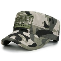 Sports Hat Cap trendy  High Quality Camo Flat Top Tactical Cap SWAT US Army Baseball Cap Men Cotton Camouflage Snapback Bone Sports Dad Hat For Adult KO_16_1