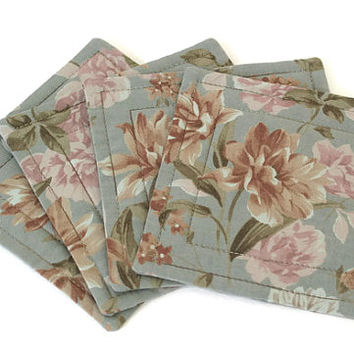 Coasters, Quilted Fabric Coasters, Floral Bar Mats, Reversible Coasters, Beverage Mats, Slate Blue, Set of 4 Coasters, Quiltsy Handmade