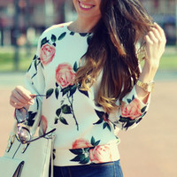 White Long Sleeve Floral Print Sweatshirt