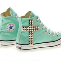 Studded Converse, Aruba Blue Converse Silver Cross by CUSTOMDUO on ETSY