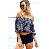 Women Blouses And Shirts Sexy Strapless Off Shoulder Medium Sleeve Elastic Print Ruffle Tops