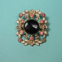 Floral Fleur-De-Lis Brooch or Pin, Pink Rhinestones, Black Glass Center, Vintage