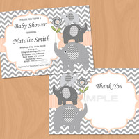 Editable Baby Shower Invitation Elephant Baby Shower Invitation Boy Baby Shower Invites (37a) - FREE Thank You Card - Instant Download