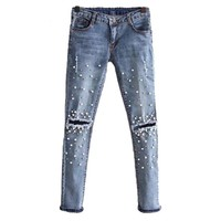 New Fashion Beading Jeans Women Hole Casual Denim Pants Elastic Skinny Mid Waist Slim Trousers Rivet Pearl Jeans