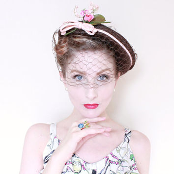 1940s Hat / VINTAGE / 40s Hat / Straw / Veil / Brown / Breton / Pink / Bow / Blossoms