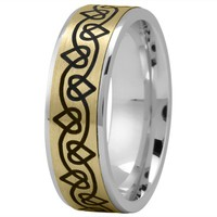 Wedding Band - Celtic Mens Ring with Black Rhodium Hearts in Yellow and White Gold