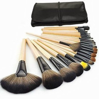 New Hotsale Professional 24 PCS Cosmetic Facial Make up Brush Kit Wool Makeup Brushes Tools Set with Black Leather Case = 1753733380
