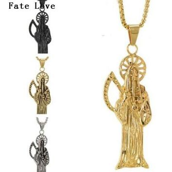 Fate Love High Quality Holy Saint Death Santa Muerte Skull Delicate Pendant Stainless steel Rolo Chian Necklace XMAS Gifts  Men