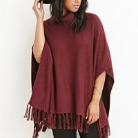 Plus Size Tasseled Funnel Neck Poncho