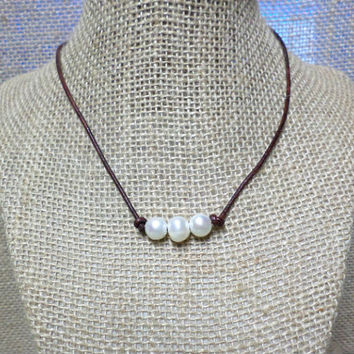 Triple Freshwater Pearl on Leather Cord Choker Necklace Pearl Slip Knot Closure
