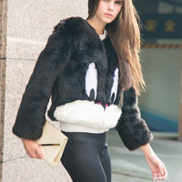 Bomber Fur Coat Black Bugs Bunny | SPREDFASHION