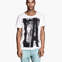 H&M - T-shirt with Printed Design - White - Men