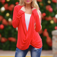 Cross Over Sweater - Red