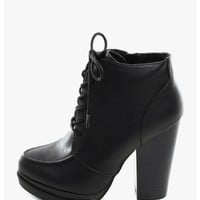 Black Dulce La Vida Stacked Heel Oxford Booties | $10 | Cheap Trendy Boots Chic Discount Fashion fo