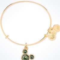 Disney Alex and Ani Mickey Mouse Birthstone Bangle August Gold Finish New