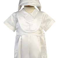 Boys Satin Christening Romper w. Cross Embroidered Overlay 3-24m