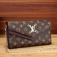 LV Louis Vuitton Chain Women Leather Crossbody Satchel Shoulder Bag