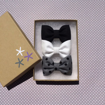 Black, white denim, and gray with black dot flannel bow lot for fall.  Seaside Sparrow hair bows make the perfect gift.