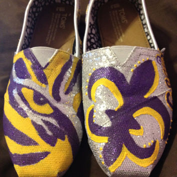 LSU Tailgating Shoes TOMS by SaturdaysInTheSouth on Etsy
