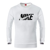 NIKE autumn and winter tide brand men's plus velvet round neck pullover casual sweater White