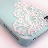 DIY Handmade Lace Pearl Case for iPhone 4 / 4S - Mint Green