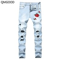 QMGOOD Men Skinny Jeans Pants Plus Size Ripped Jeans Men Vintage Fashion Embroidery Mens Denim Stretch Jeans Men Clothes 2018