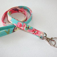 Lanyard  ID Badge Holder - NEW THINNER design - love bliss bouquet - Lobster clasp and key ring coworker gift