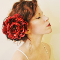 LOLITA Scarlet Red Flower Hair Clip with Black Lace by SewRed