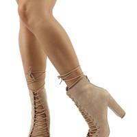 Wild Diva Lounge Open Toe Corset Lace Up Tie Chunky Heel Ankle Bootie
