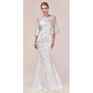 Andrea & Leo 5263 Long White Lace Embellished Cape Mermaid Gown