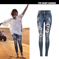 Cut Out Patchwork Holes Long Pencil Skinny Jeans