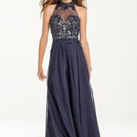 Two-Tone Lace Dress with Illusion Neckline from Camille La Vie and Group USA