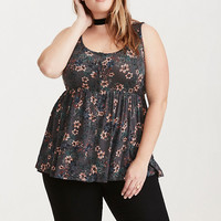 Floral Print Button Front Babydoll Top