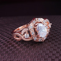 Beauty Women Flower Ring 18K Rose Gold Plate Inlayed AAA Swiss Cubic Zircon Brand Rings = 1929439812