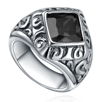Stainless Steel Vintage Black Cubic Zirconia Ring