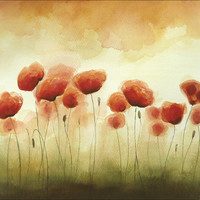 Crazy Poppies on my Wall - Watercolor Painting  - Fine Art Original Painting  - Flower Poppy Art  - Aquarelle - 10 x 14 inches