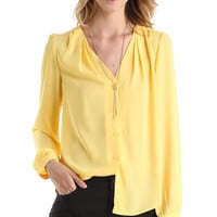 BUTTON UP LONG SLEEVE BLOUSE - YELLOW