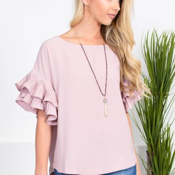 Dusty Pink NY Pleated Top