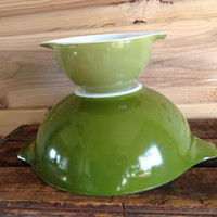 Pyrex Verde Cinderella Bowl 441 and 444 Nesting bowls