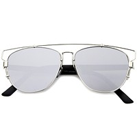 Modern Metal Crossbar Mirrored Lens Flat Front Sunglasses A145