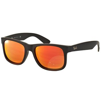 Cheap New Ray Ban RB4165 Justin 622/6Q Black Rubber Sunglasses Red Mirror Lens 54mm outlet