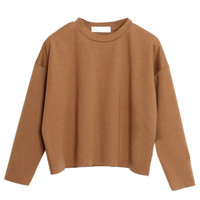 Camel Dropped Shoulder Cropped Sweatshirt With Rawed Edge - Choies.com