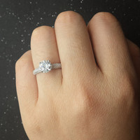 Brilliant Moissanite Engagement ring White gold,Diamond wedding band,14k,Round Cut,Gemstone Promise Ring,Charles & Colvard,Classic 4-prong