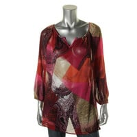 JM Collection Womens Crepe Printed Blouse
