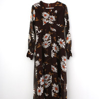Vintage original 1970s boho brown and white daisy flower empire style maxi dress