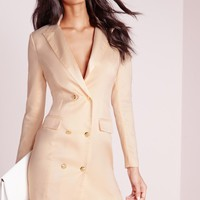 Missguided - long sleeve tuxedo dress nude